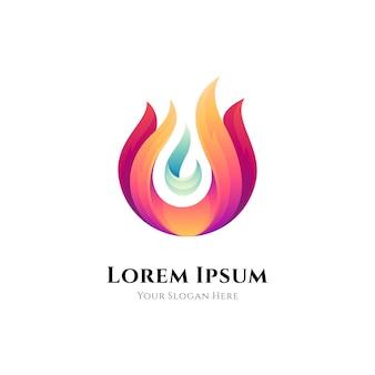 Streszczenie logo gradientu ognia