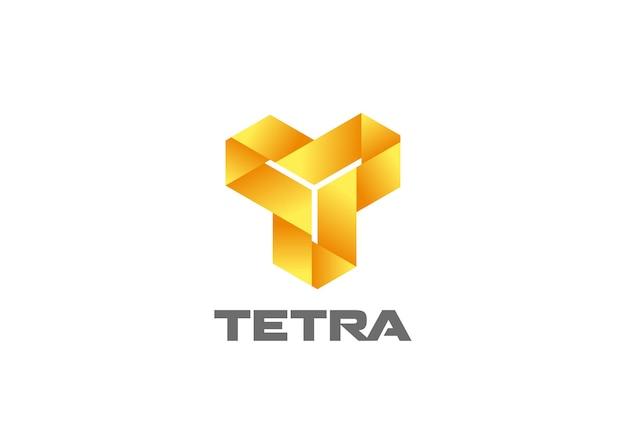 Streszczenie logo infinity looped triangle t letter. firmowy monogram logotyp nieskończonej pętli