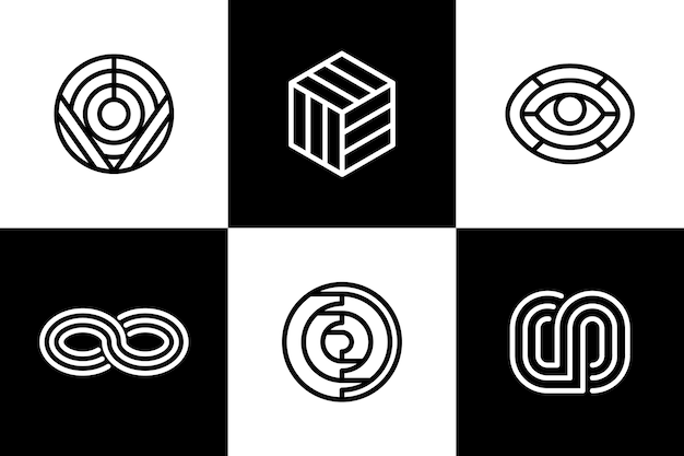 Streszczenie logo liniowe zestaw