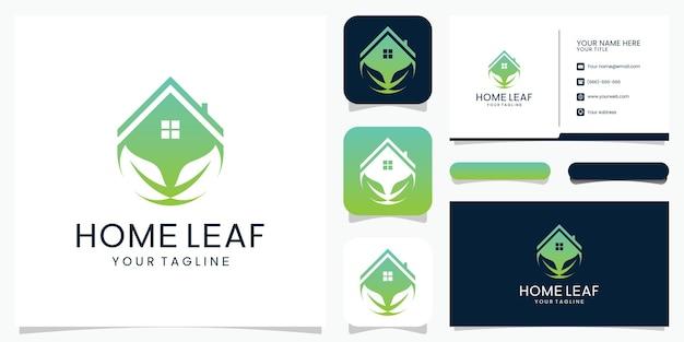 Streszczenie logo liścia domu logo i wizytówki.