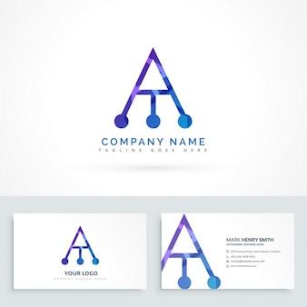Streszczenie logo litera a z wizytówki