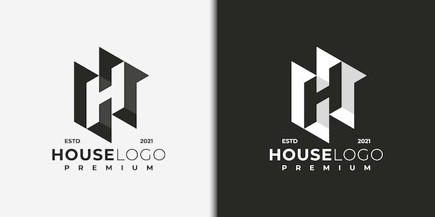 Streszczenie logo litera h, logo dla budownictwa, nieruchomości, wykonawcy, architektury, doradztwa, inwestycji.