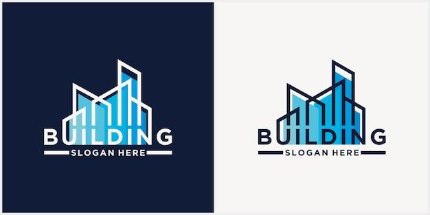 Streszczenie logo logotyp budynku architekt budowlany szablon logo projekt architektoniczny i minusy