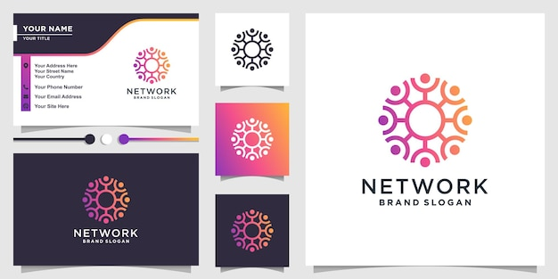 Streszczenie logo ludzi z koncepcją społeczności sieciowej premium wektorów