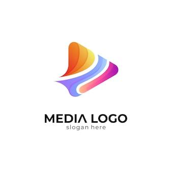 Streszczenie logo odtwarzania mediów play