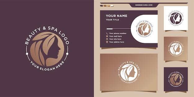 Streszczenie logo piękna z kreatywnym stylem i projektami wizytówek