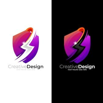 Streszczenie logo tarczy i ilustracja projektu napięcia