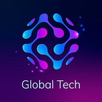 Streszczenie logo technologii globu z globalnym tekstem technicznym w fioletowym odcieniu