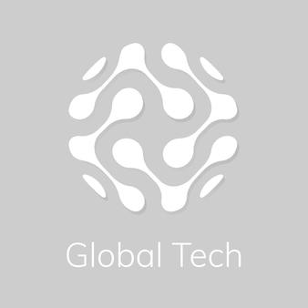 Streszczenie logo technologii globu z globalnym tekstem technicznym w odcieniu białym