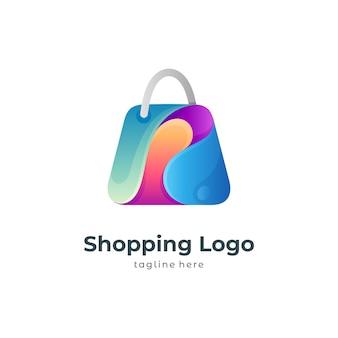 Streszczenie logo torby na zakupy shopping