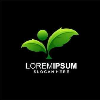 Streszczenie logo zielonego liścia
