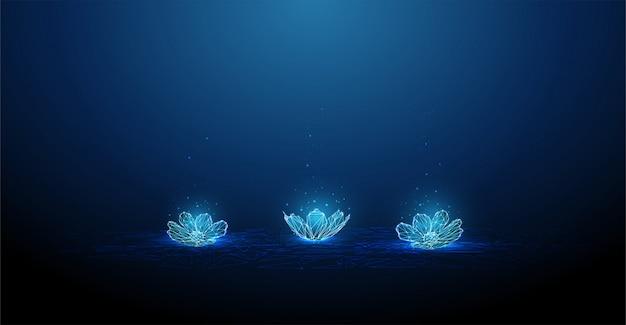 Streszczenie low poly kwiaty na wodzie
