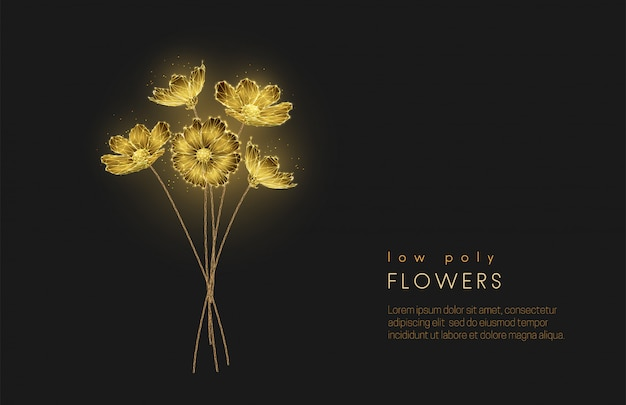 Streszczenie low poly kwitnący bukiet kwiatów.