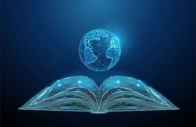 Streszczenie low poly otwarta książka z planety ziemia.