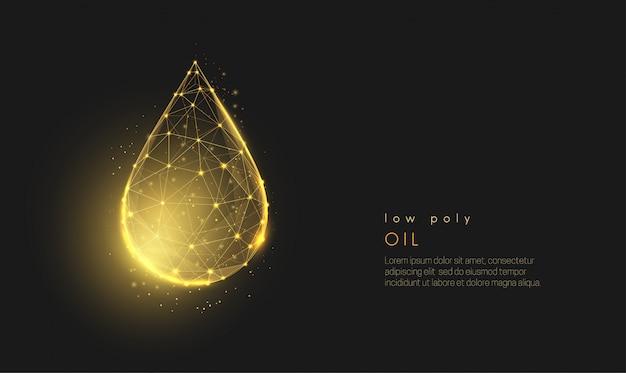 Streszczenie low poly spada złoty olej kropla.