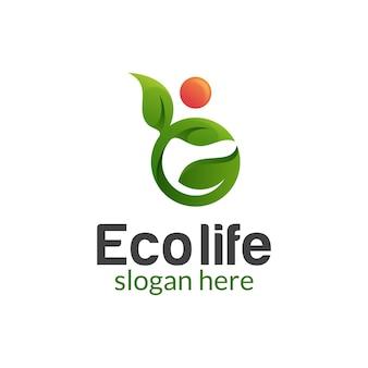 Streszczenie ludzie liść ze słońcem dla zdrowego życia natury, farmy roślin, projektowanie logo rolnictwa