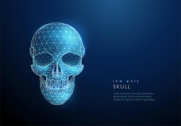 Streszczenie ludzkiej czaszki. styl low poly