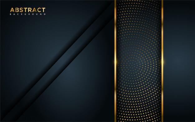 Streszczenie luksusowe ciemne tło z złote linie i okrągłe świecące kombinacje złotych kropek.