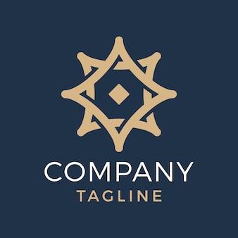 Streszczenie luksusowe kwadratowe logo gwiazdy