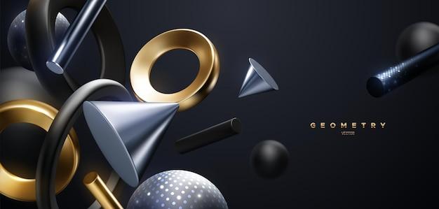 Streszczenie luksusowe tło płynących czarnych i metalicznych kształtów geometrycznych z błyszczącymi błyskami