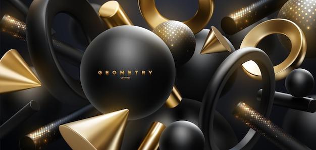 Streszczenie luksusowe tło płynących czarnych i złotych kształtów geometrycznych z błyszczącymi błyskami