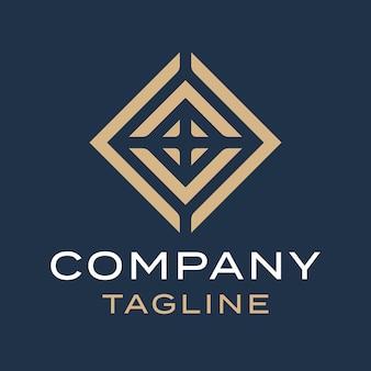 Streszczenie luksusowego luksusowego kwadratowego diamentowego projektu logo złota