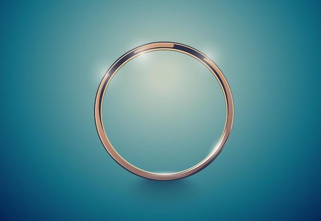 Streszczenie luksusowy złoty pierścionek. tło efekt vintage llight. okrągła ramka na głębokim turkusie