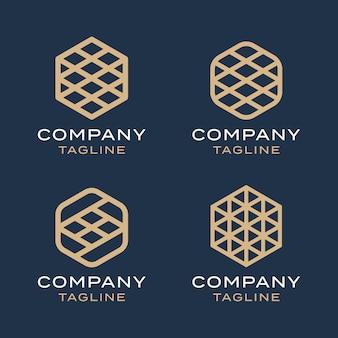 Streszczenie luksusowych sześciokątnych geometrii linii monoline złoto zestaw szablonów projektu logo