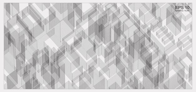 Streszczenie macierzy szkielet przestrzeni budynku. szkielet tła 3d perspektywy. ilustracja wektorowa.