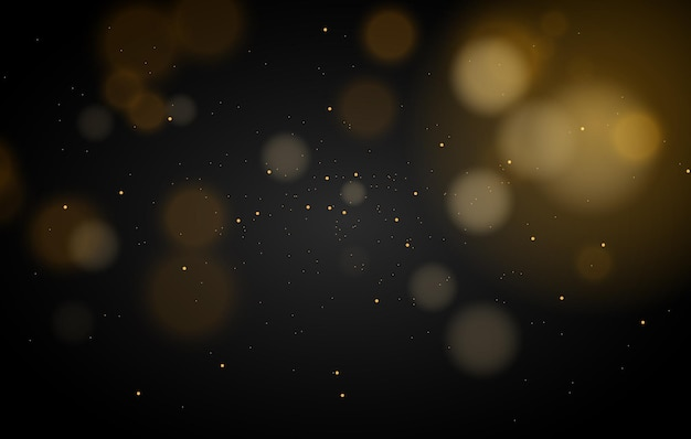 Streszczenie Magiczne światła Bokeh Efekt Tło Czarny Złoty Brokat Na Boże Narodzenie Premium Wektorów