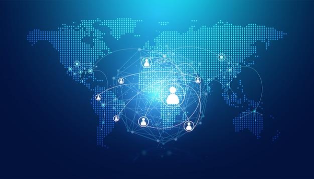 Streszczenie mapa kropka i połączenie internetowe ludzi link cyfrowy