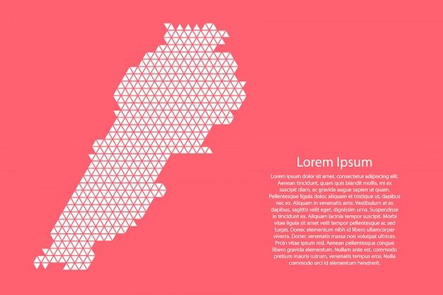 Streszczenie mapa libanu schemat z białych trójkątów powtarzających się geometrycznie na różowym kolorze koralowca z węzłami na baner, plakat, kartkę z życzeniami. .