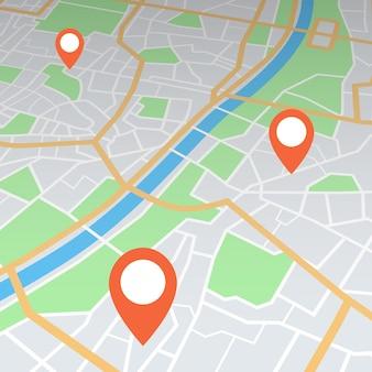 Streszczenie mapa miasta w perspektywie ze wskazówkami pin