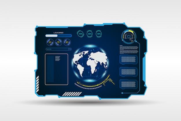 Streszczenie mapa świata cyfrowe ramki tech sci fi tło
