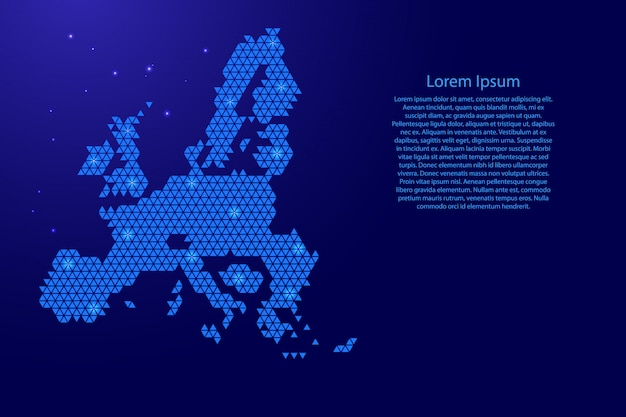 Streszczenie mapa unii europejskiej schemat z niebieskich trójkątów powtarzający się wzór geometryczny tło z węzłów i gwiazd na baner, plakat, kartkę z życzeniami.