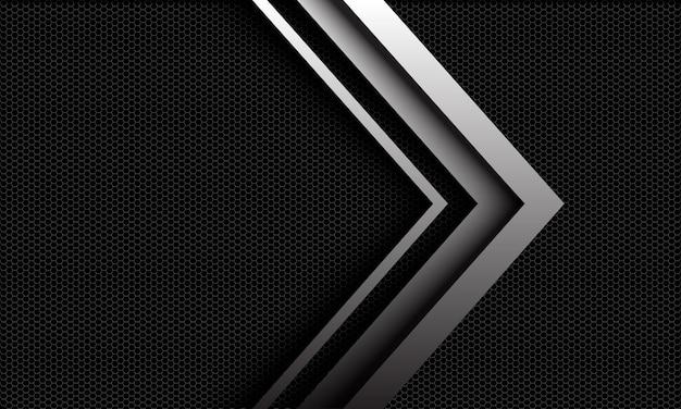 Streszczenie metaliczny srebrny błyszczący strzałka kierunek na tle futurystycznej technologii