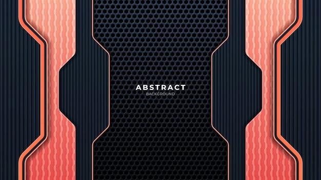 Streszczenie metalowe perforowane tło technologii z pomarańczowymi liniami. czarna ramka układ nowoczesnej technologii szablon projektu. modna kompozycja kształtów gradientowych. eps 10 wektor