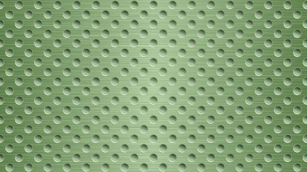 Streszczenie metalowe tło z otworami w jasnozielonych kolorach