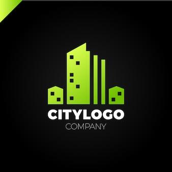 Streszczenie miasto budynek logo projekt koncepcji. ikona symbol krajobrazu mieszkalnego, mieszkania i miasta.