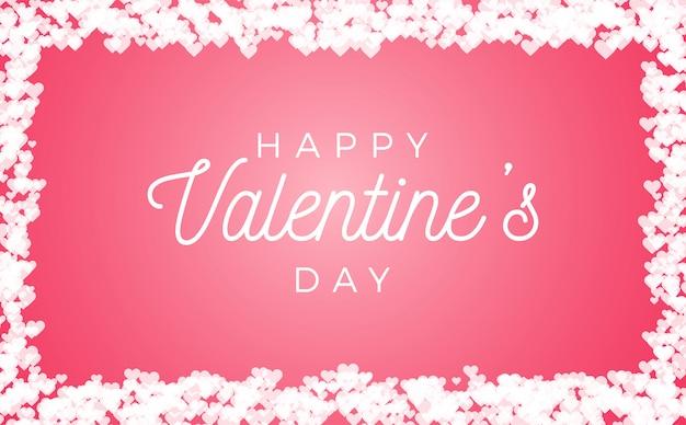 Streszczenie miłości do ramki walentynki na białym tle na różowym tle.