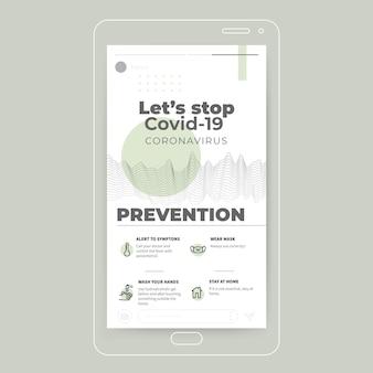 Streszczenie minimalistyczna historia na instagramie koronawirusa