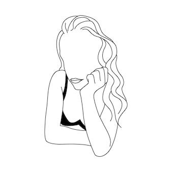 Streszczenie minimalistyczna postać kobieca w bieliźnie. ilustracja wektorowa moda kobiecego ciała w modnym stylu liniowym. do plakatów, tatuaży, logo sklepów z bielizną