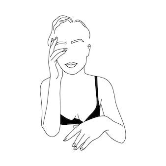 Streszczenie minimalistyczna postać kobieca w bieliźnie. ilustracja wektorowa moda kobiecego ciała w modnym stylu liniowym. elegancka sztuka. do plakatów, tatuaży, logo sklepów z bielizną