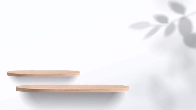 Streszczenie minimalistyczna scena z geometrycznymi formami. białe podium z liśćmi. prezentacja produktów, pokaz produktów kosmetycznych, podium, cokół lub platforma.