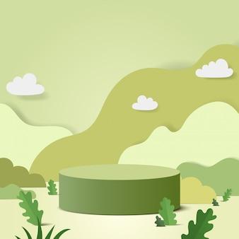Streszczenie minimalistyczna scena z geometrycznymi formami. podium cylindra w naturze zielone tło z zielonych liści roślin.
