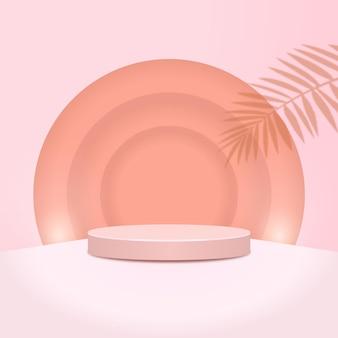 Streszczenie minimalistyczna scena z geometrycznymi formami. podium cylindra z liśćmi. prezentacja produktu. podium, cokół lub platforma.