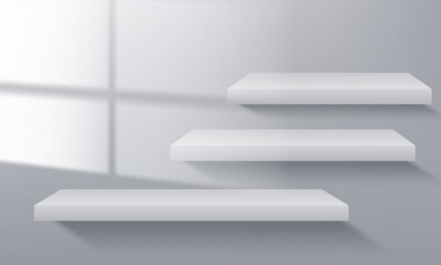 Streszczenie minimalistyczna scena z geometrycznymi formami. prezentacja produktu, makieta, pokaz produktu kosmetycznego, podium, cokół lub podest