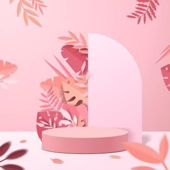 Streszczenie minimalistyczna scena z geometrycznymi formami. wyświetlacz cylindra na podium lub makieta prezentacyjna produktu na różowym tle z liśćmi papieru.