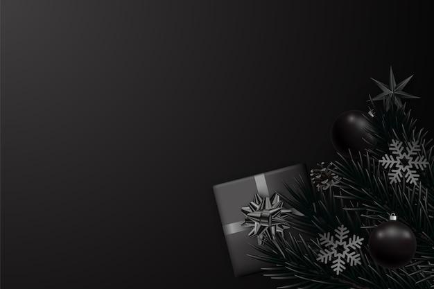 Streszczenie minimalistyczne czarne tło na boże narodzenie i nowy rok.