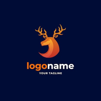 Streszczenie minimalistyczne logo z gradientową głową jelenia